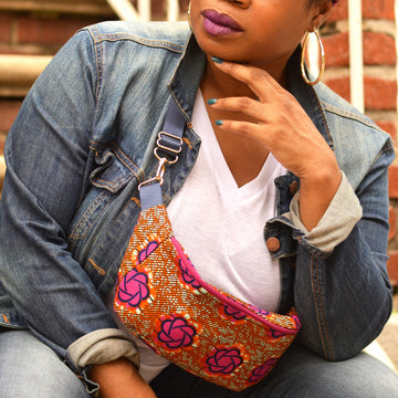 Lyra Waist Bag-fanny pack-Ankara Crowns-the wrap life-head scarf-brooklyn-african print-turban- fanm djanm- cee cees closet - head wrap