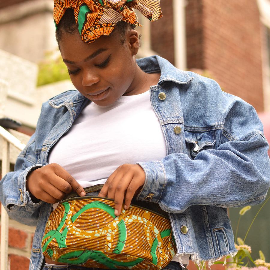 Odo | Green Waist Bag-fanny pack-Ankara Crowns-the wrap life-head scarf-brooklyn-african print-turban- fanm djanm- cee cees closet - head wrap