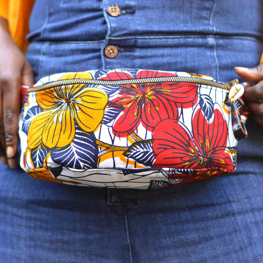 Zobo Waist Bag-fanny pack-Ankara Crowns-the wrap life-head scarf-brooklyn-african print-turban- fanm djanm- cee cees closet - head wrap