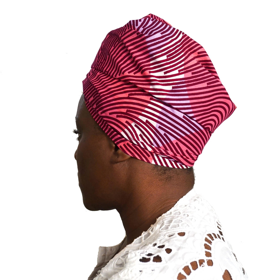 Aeolia Pink-Headwrap-Ankara Crowns-the wrap life-head scarf-brooklyn-african print-turban- fanm djanm- cee cees closet - head wrap