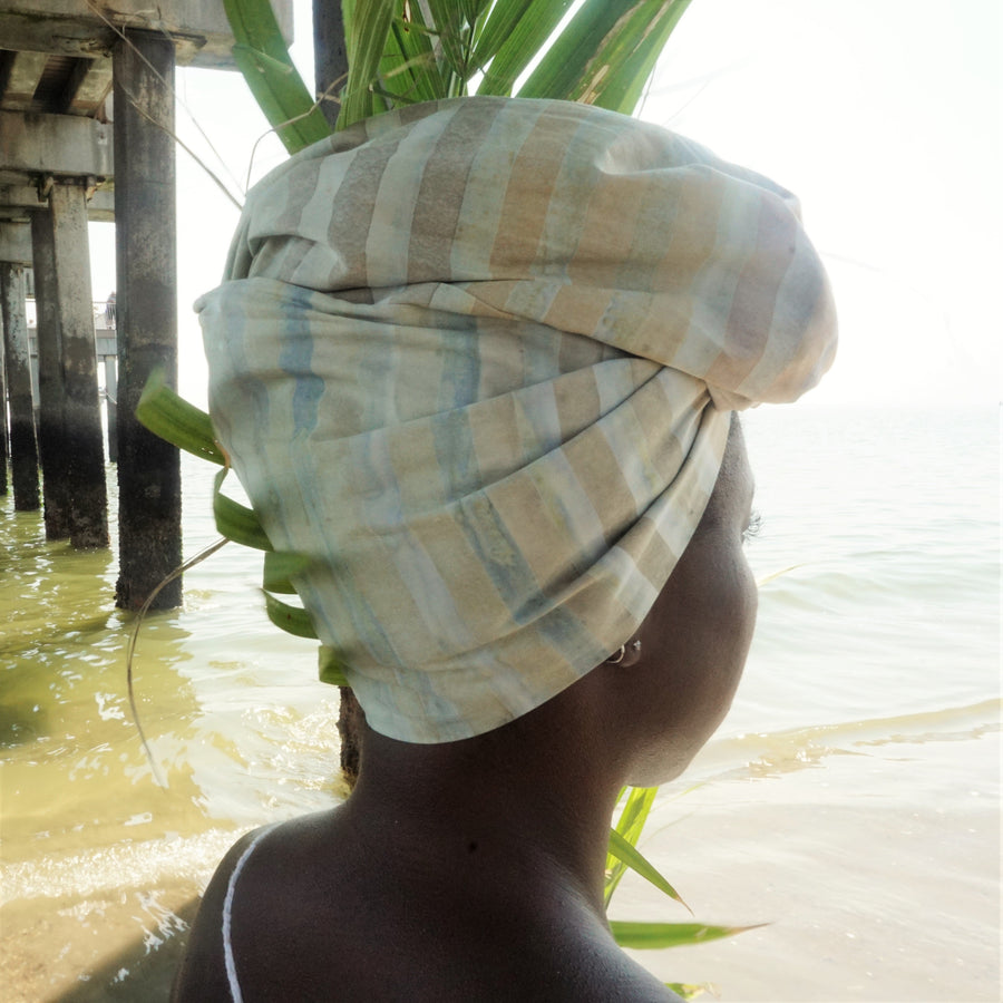 Baby Beach-Headwrap-Ankara Crowns-the wrap life-head scarf-brooklyn-african print-turban- fanm djanm- cee cees closet - head wrap