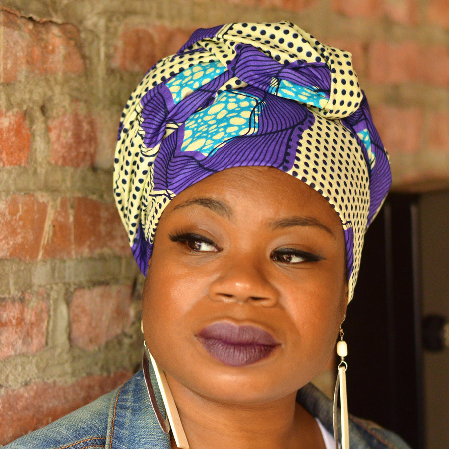 Cosmos | Plum-Headwrap-Ankara Crowns-the wrap life-head scarf-brooklyn-african print-turban- fanm djanm- cee cees closet - head wrap