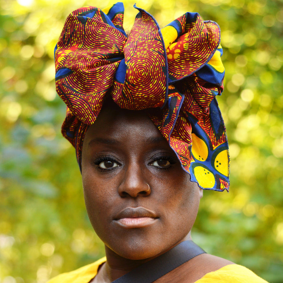 Femi-Headwrap-Ankara Crowns-the wrap life-head scarf-brooklyn-african print-turban- fanm djanm- cee cees closet - head wrap