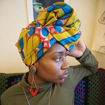 Gbemi-Headwrap-Ankara Crowns-the wrap life-head scarf-brooklyn-african print-turban- fanm djanm- cee cees closet - head wrap