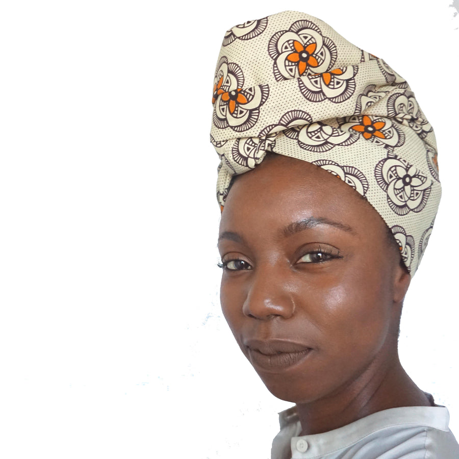 Latifat-Headwrap-Ankara Crowns-the wrap life-head scarf-brooklyn-african print-turban- fanm djanm- cee cees closet - head wrap