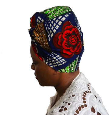 Ndidi-Headwrap-Ankara Crowns-the wrap life-head scarf-brooklyn-african print-turban- fanm djanm- cee cees closet - head wrap