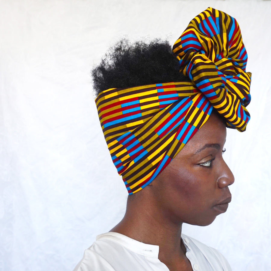 Oshodi-Headwrap-Ankara Crowns-the wrap life-head scarf-brooklyn-african print-turban- fanm djanm- cee cees closet - head wrap