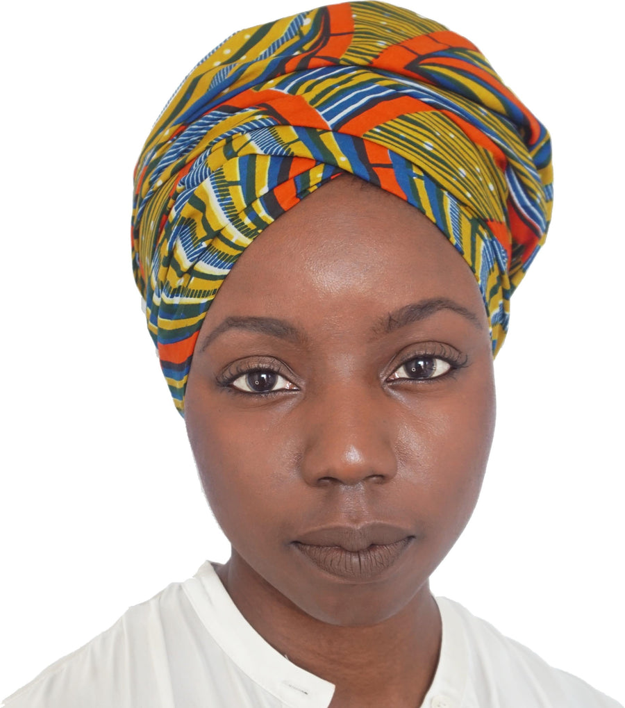 Suji-Headwrap-Ankara Crowns-the wrap life-head scarf-brooklyn-african print-turban- fanm djanm- cee cees closet - head wrap
