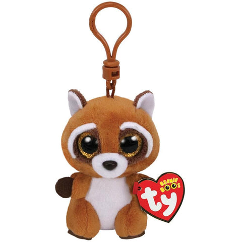 008421365647 Rusty Brown White Racoon Clip Ty - Calendar Club