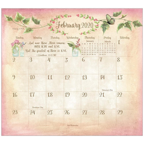 Faithful Heart and Home 2020 Mini Magnetic Pad Calendar Front Cover