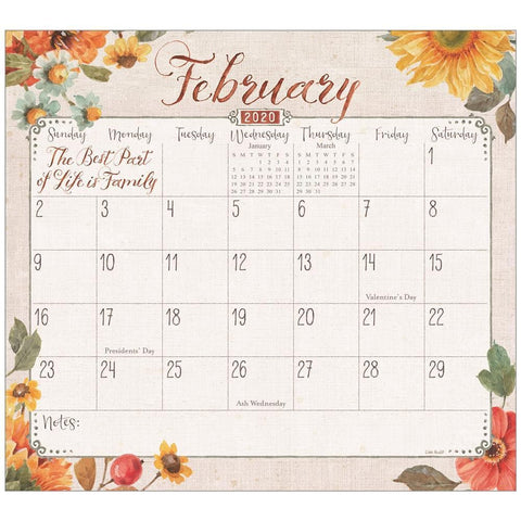 Grateful Blooms 2020 Mini Magnetic Pad Calendar Front Cover