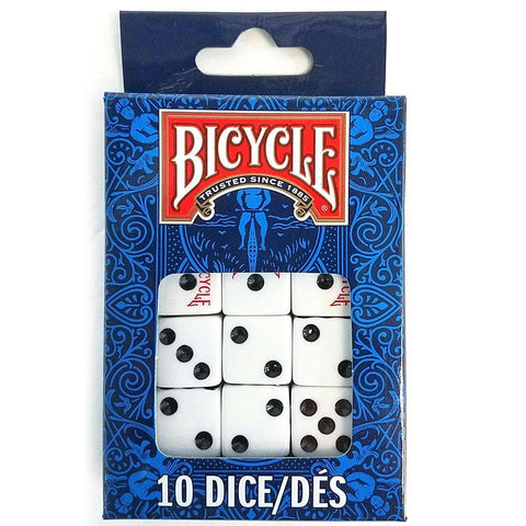 pegable package of 10 white dice with black dots