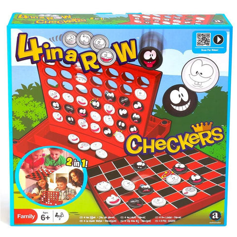 4 in a Row with Checkers Combo Game