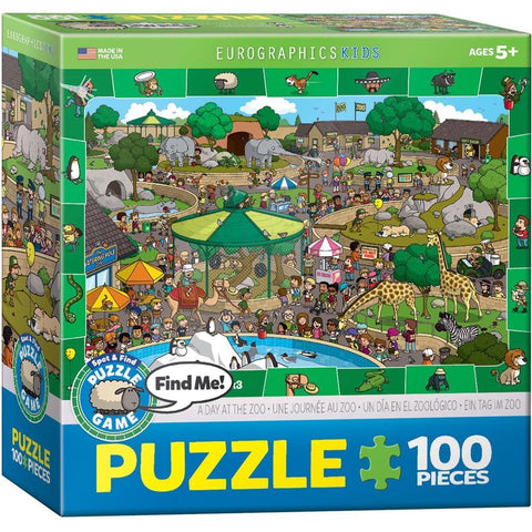 Spot and Find Me A Day in the Zoo Puzzle Game 100 Piece
