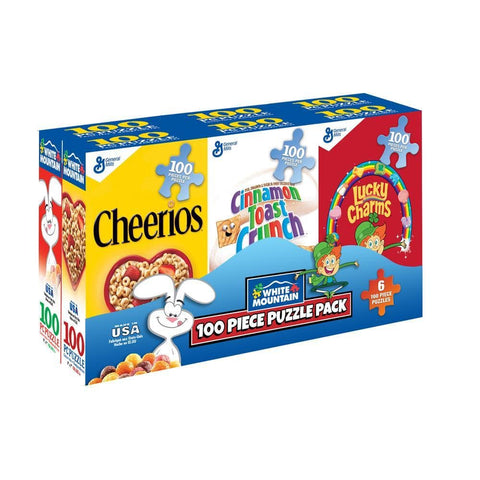 724819260669 Cereal Box 6pk Puzzle White Mountain - Calendar Club1