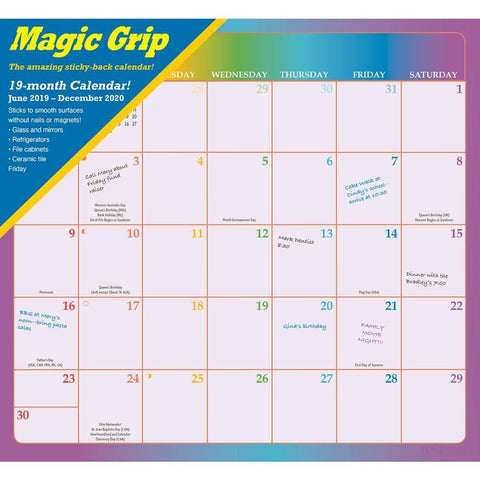 Rainbow Jumbo 2020 Magic Grip Wall Calendar