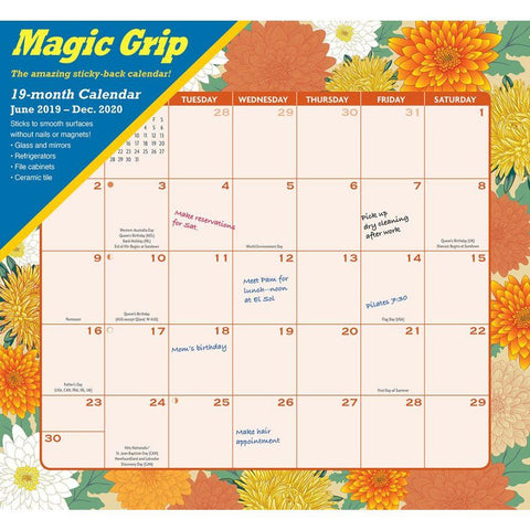 Floral Jumbo 2020 Magic Grip Wall Calendar