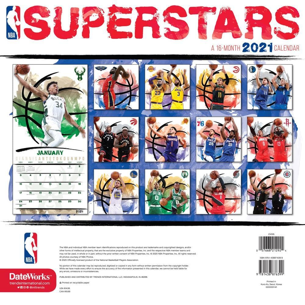 NBA Superstars 2021 Wall Calendar by Trends International