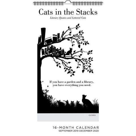 Cats in the Stacks 2020 Slim Wall Calendar Front Cover