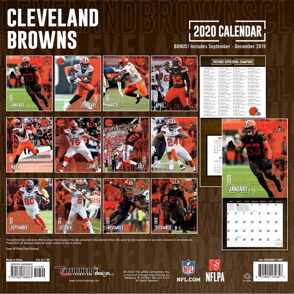 Calendrier Nfl 2020 2019.Nfl Cleveland Browns 2020 Wall Calendar Online Exclusive