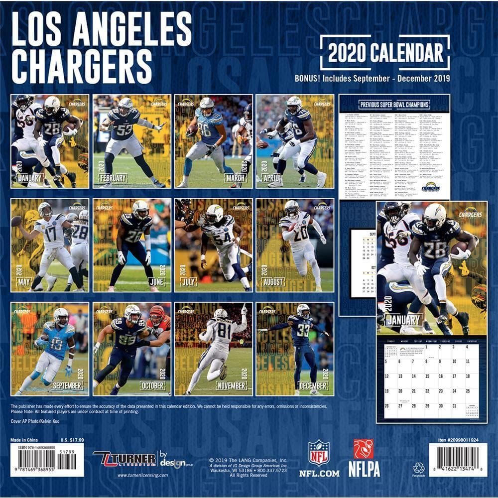 Chargers Schedule 2020.Nfl La Chargers 2020 Wall Calendar Online Exclusive