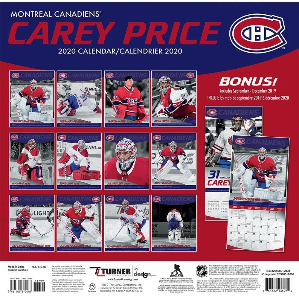 Calendrier Nfl 2020 2019.Nhl Montreal Canadiens Carey Price Bilingual 2020 Wall Calendar