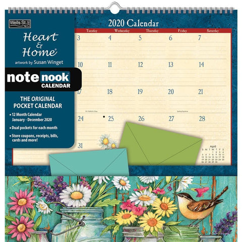Heart and Home Winget Note Nook 2020 Wall Calendar Front Cover