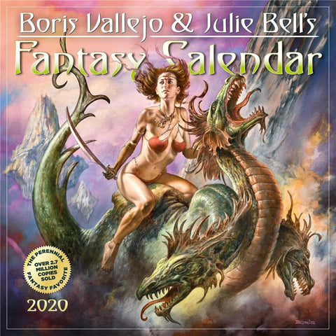 Boris Vallejo and Julie Bells Fantasy 2020 Wall Calendar Front Cover