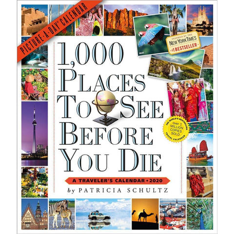 1000 Places To See 2020 Wall Calendar Front Cover