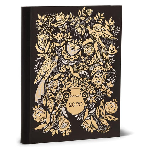 Dinaras Floral in Gold Weekly Softcover Planner 2020 Engagement Calendar Front Cover