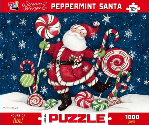 Winget Peppermint Blue Santa 1000 pc Puzzle
