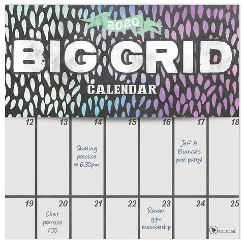 Big Grid Chalk 2020 Wall Calendar Front Cover