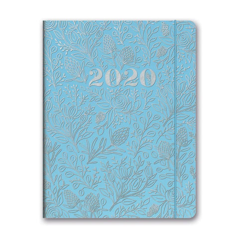 Floral Vines Slate Blue Just Right Monthly 2020 Engagement Calendar Front Cover