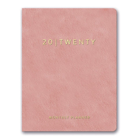 Practically Pink Leatheresque Large Monthly 2020 Engagement Calendar Front Cover