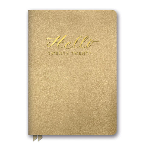 Gold Hello Shimmer Medium Weekly 2020 Engagement Calendar Front Cover