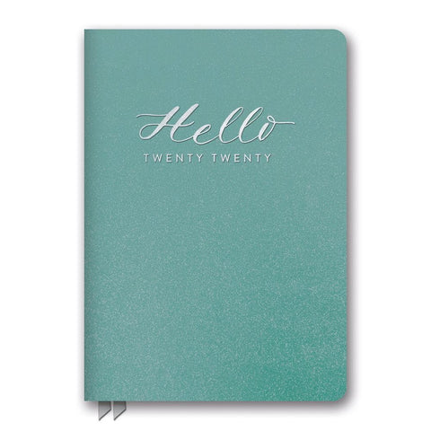 Teal Hello Shimmer Medium Weekly 2020 Engagement Calendar Front Cover