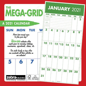 Mega Grid 2021 Wall Calendar Back Cover Image