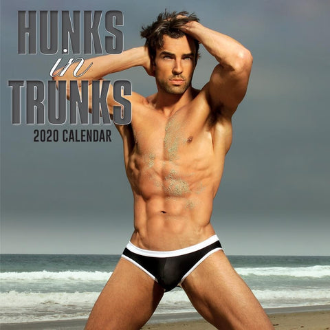 Hunks in Trunks 2020 Wall Calendar Front Cover