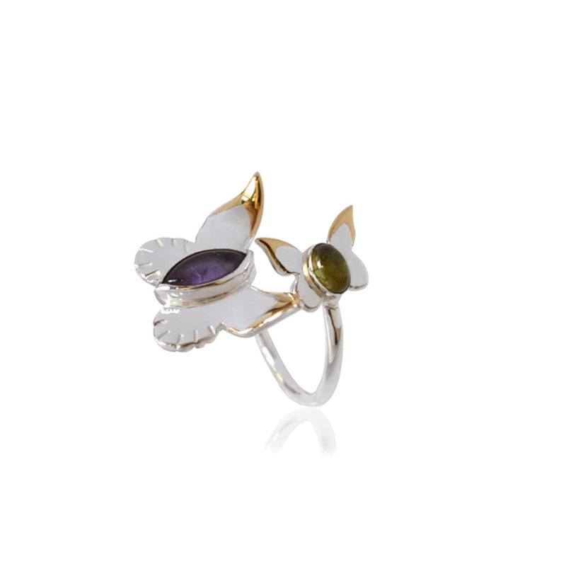 BUTTERFLY WRAP RING with AMETHYST and PERIDOT