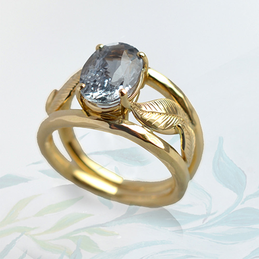 Leaf Ring with Sapphire