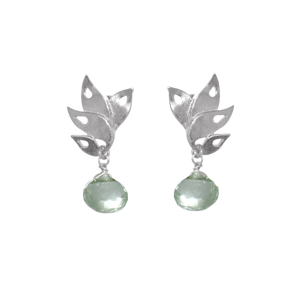 Alappuzha Tropical Leaf Earrings with Green Amethyst - Silver
