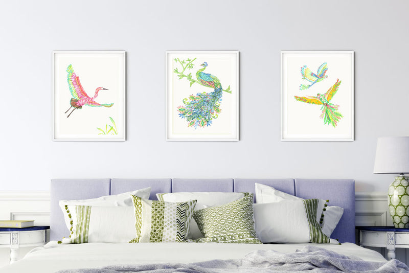 HERON BIRD ART PRINT - colourful exotic birds illustration limited edition - Victoria von Stein Design