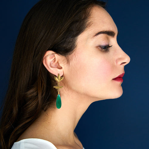 Havana Chandelier Earrings - Green Onyx - Victoria von Stein Ltd