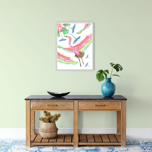GREAT EGRET BIRD, LOTUS FLOWER ART PRINT - colourful exotic birds illustration limited edition - Victoria von Stein Design