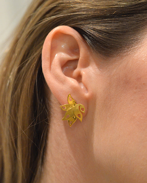 Lalita Tropical Leaf Stud Earrings - Victoria von Stein Ltd