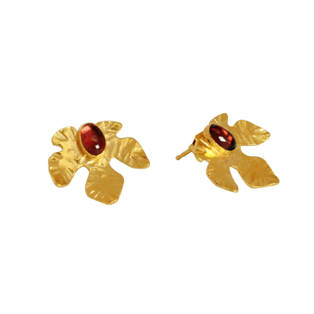 Lily Leaf Stud with Garnet