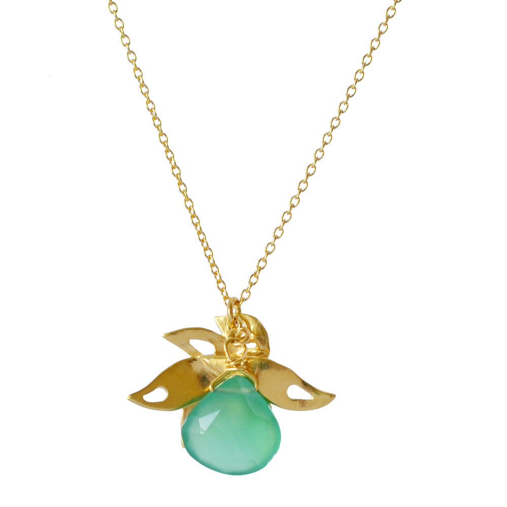 Lalita Tropical Leaf Pendant with Chalcedony