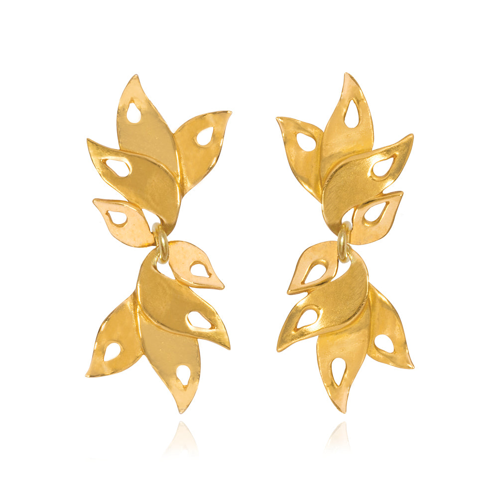 Alappuzha Tropical Leaf Drop Earrings