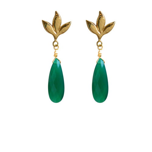 Vinales Leaf Earrings - Green - Victoria von Stein Ltd