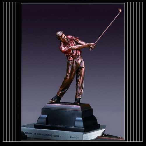 Golfer Swinging Statue